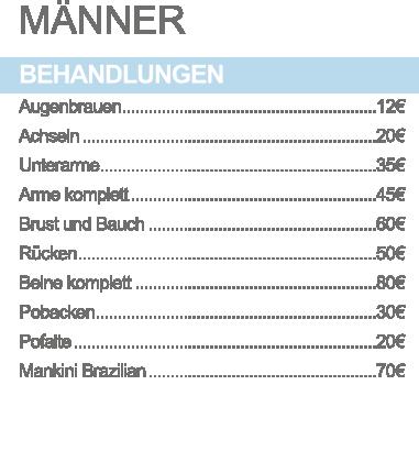 Sugaring Ludwigsburg Preisliste Mann